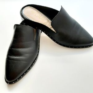 Sam Edelman Black Leather Pointy Toe Slip on Mules